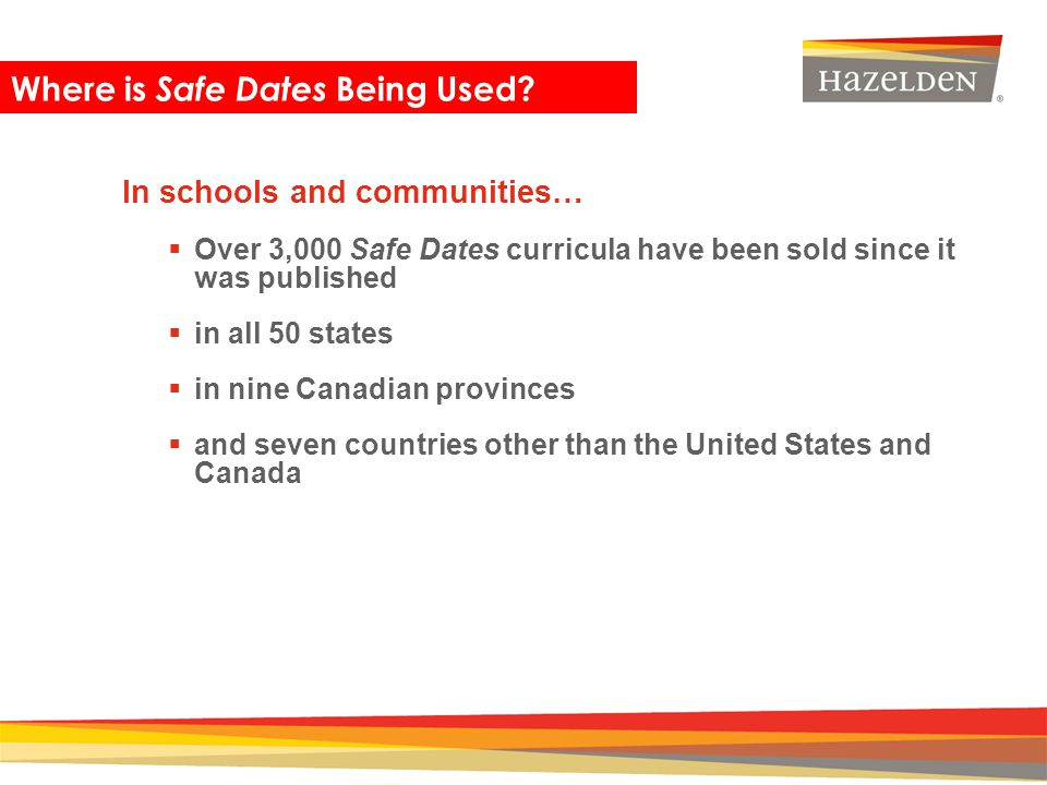 Where is Safe Dates Being Used