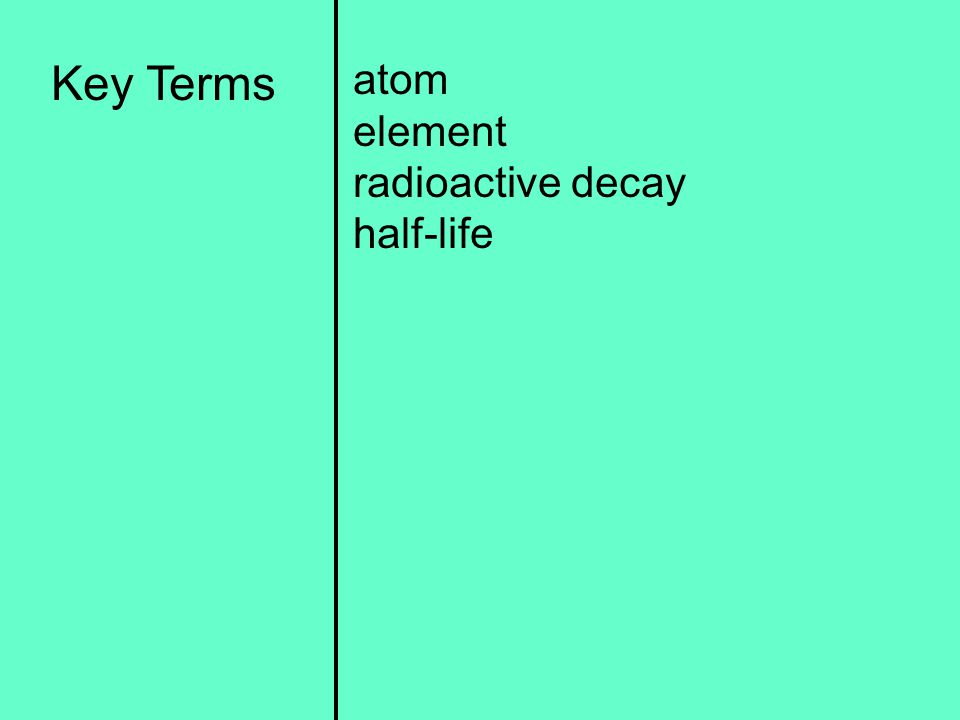 Key Terms atom element radioactive decay half-life