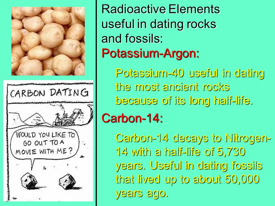 Radioactive Elements useful in dating rocks and fossils: