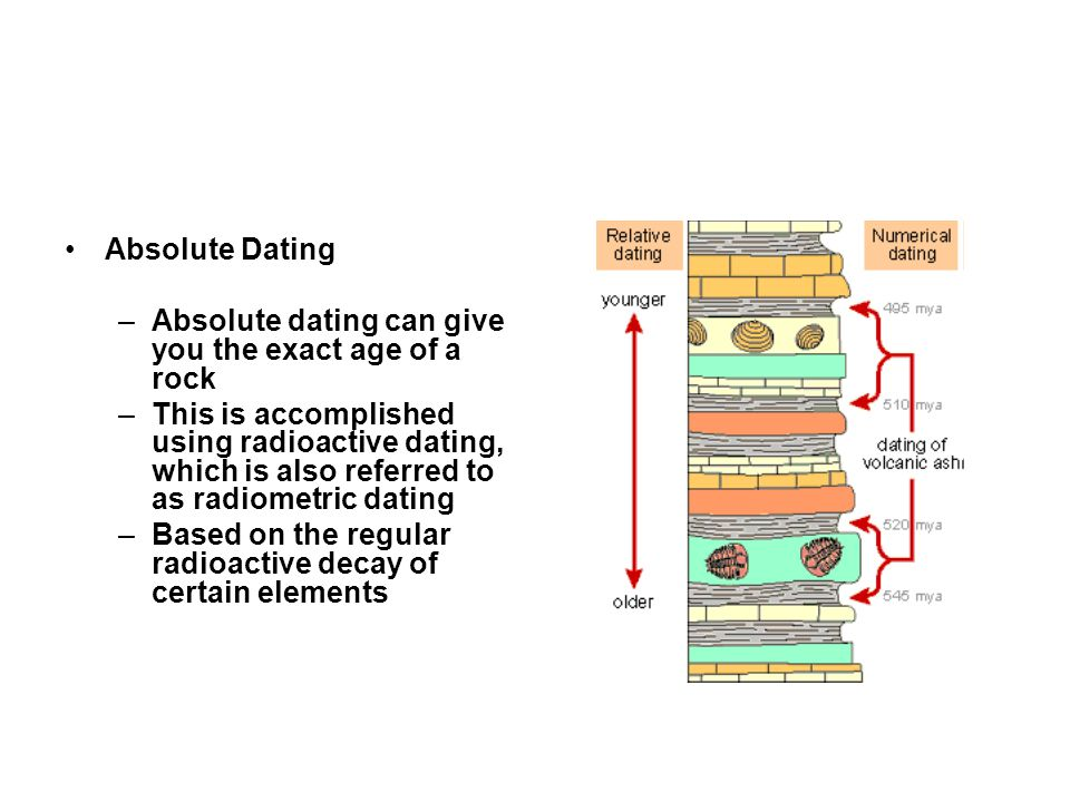 Absolute Dating Absolute dating can give you the exact age of a rock.