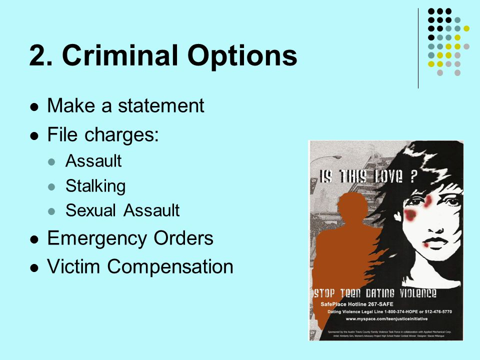 2. Criminal Options Make a statement File charges: Emergency Orders