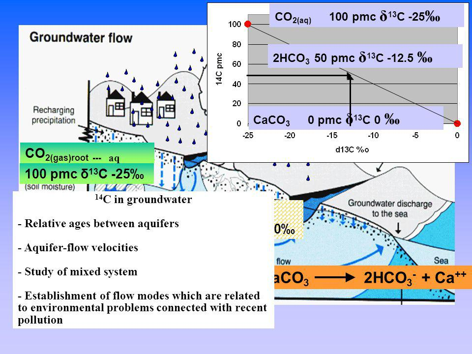 How does carbon and radiocarbon get in the groundwater