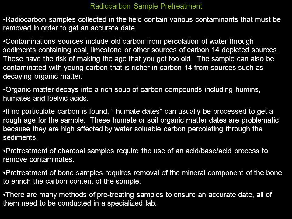 Carbon dating affected by water