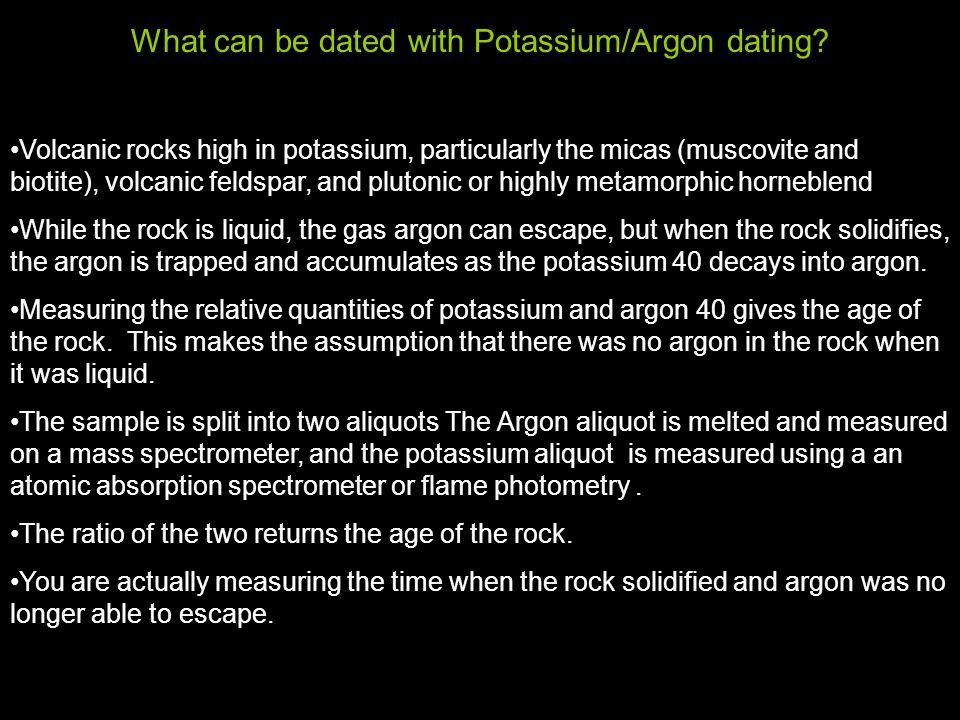potassium-argon dating volcanic rock
