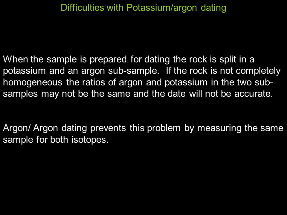Difficulties with Potassium/argon dating