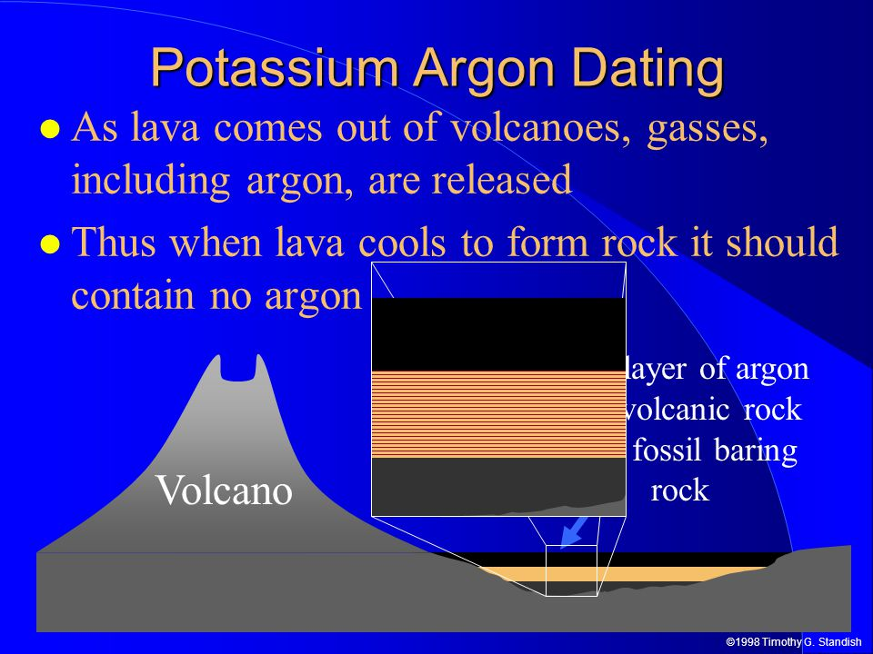Potassium-argon dating is only done with everything