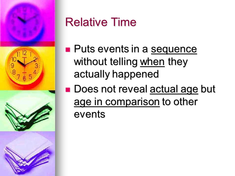 Relative Time Puts events in a sequence without telling when they actually happened.