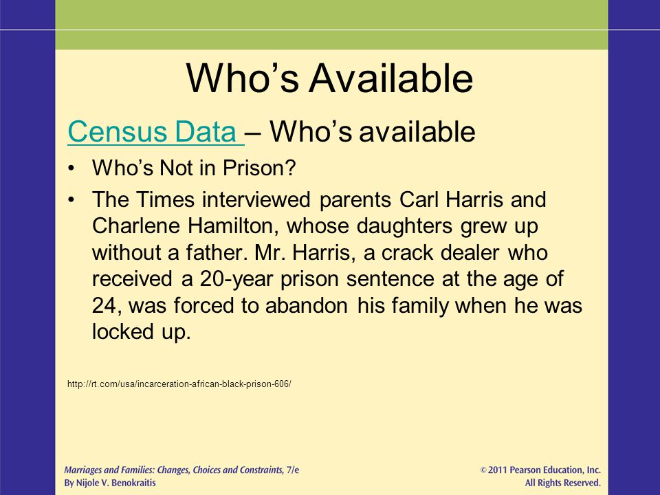 Who's Available Census Data – Who's available Who's Not in Prison