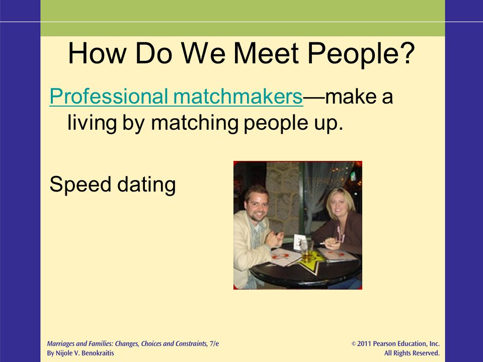How Do We Meet People Professional matchmakers—make a living by matching people up. Speed dating