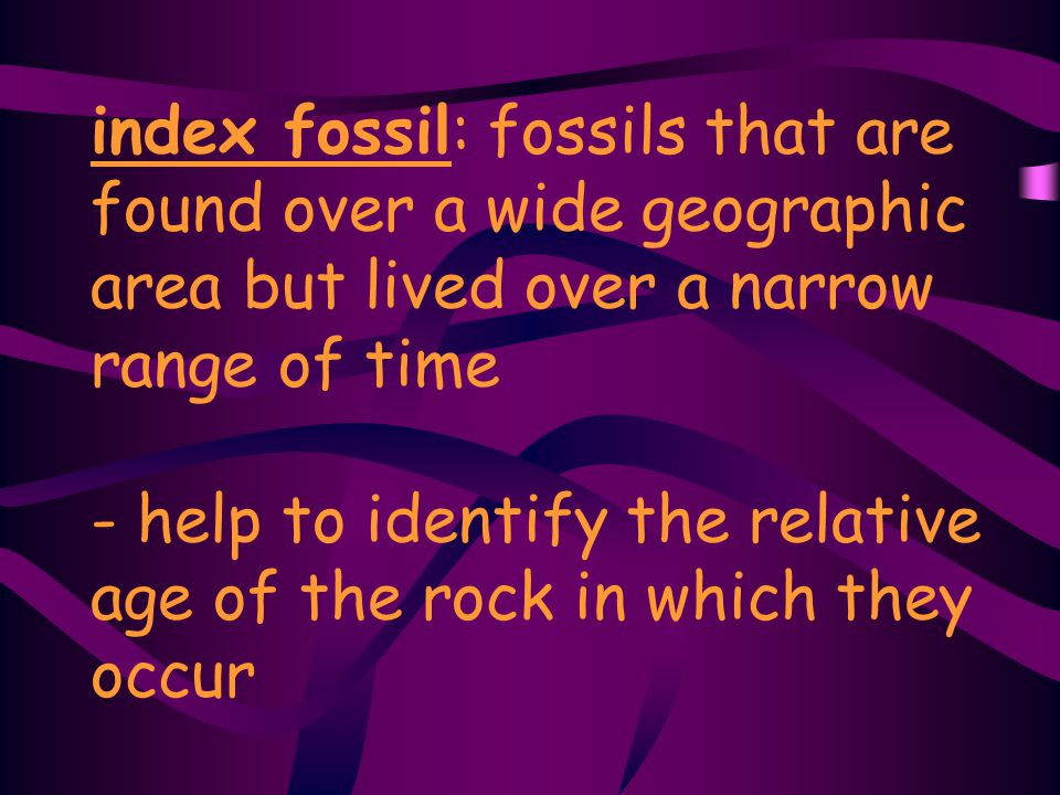 index fossil: fossils that are found over a wide geographic area but lived over a narrow range of time - help to identify the relative age of the rock in which they occur