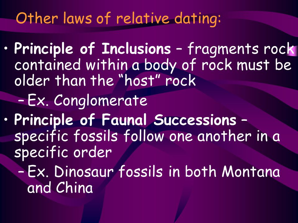 Other laws of relative dating:
