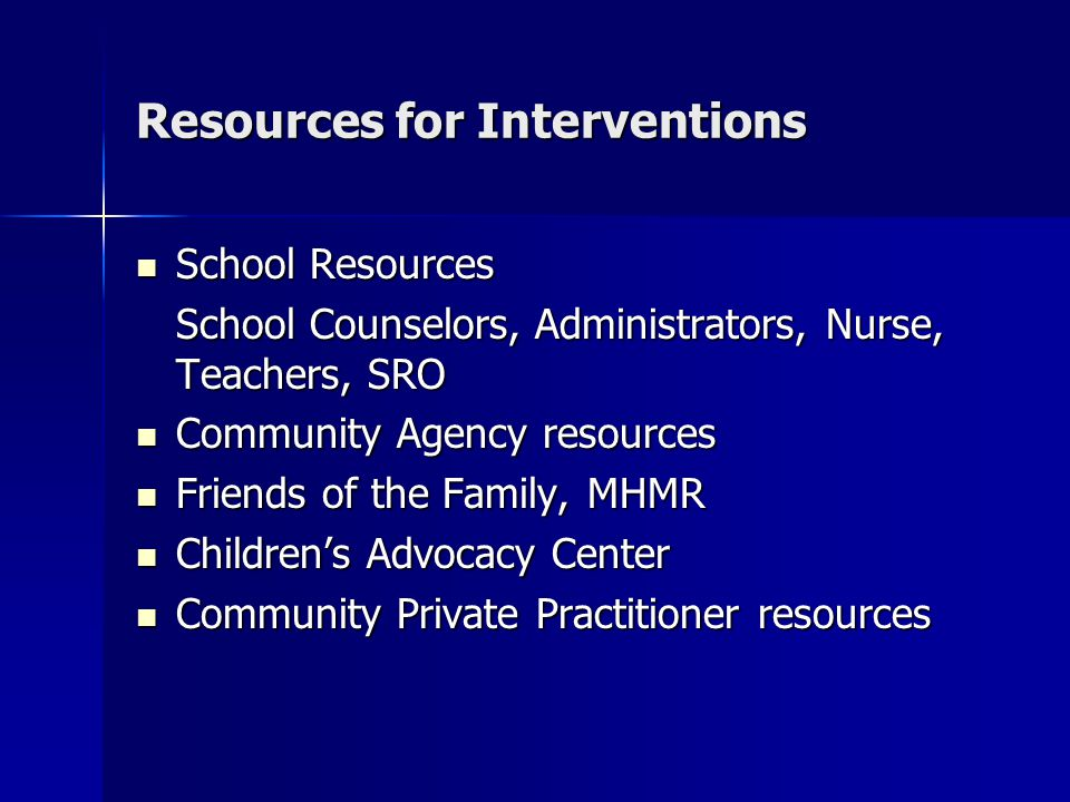 Resources for Interventions