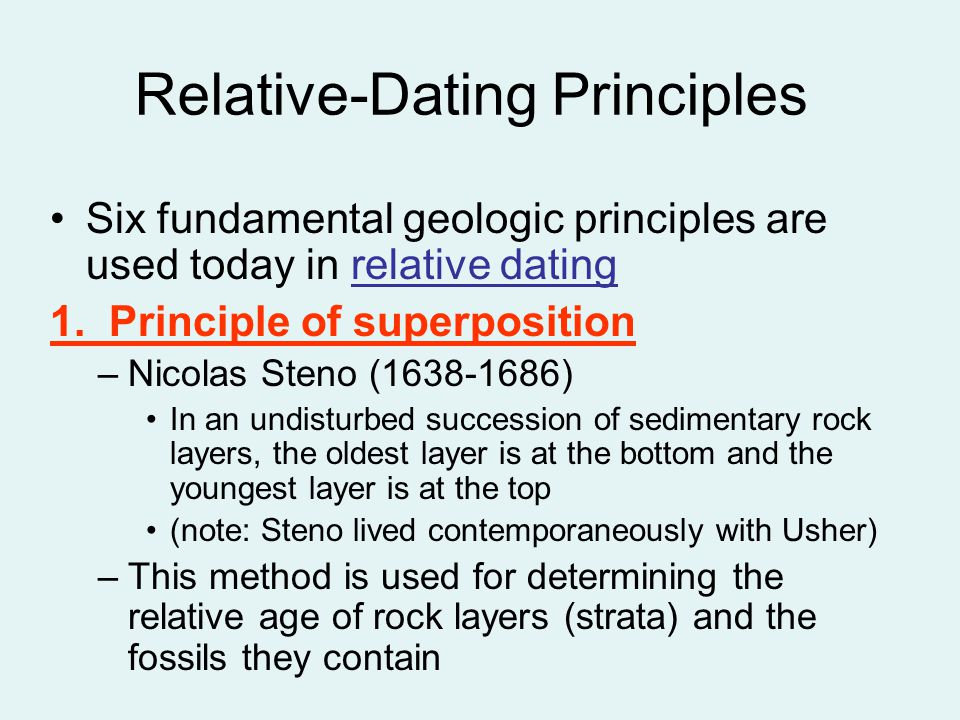 What principles are key to relative dating