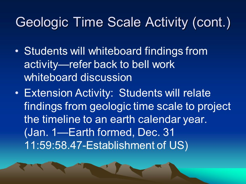 Geologic Time Scale Activity (cont.)