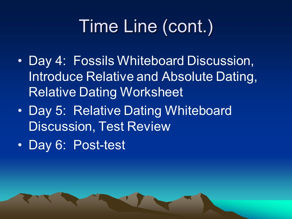 Time Line (cont.) Day 4: Fossils Whiteboard Discussion, Introduce Relative and Absolute Dating, Relative Dating Worksheet.