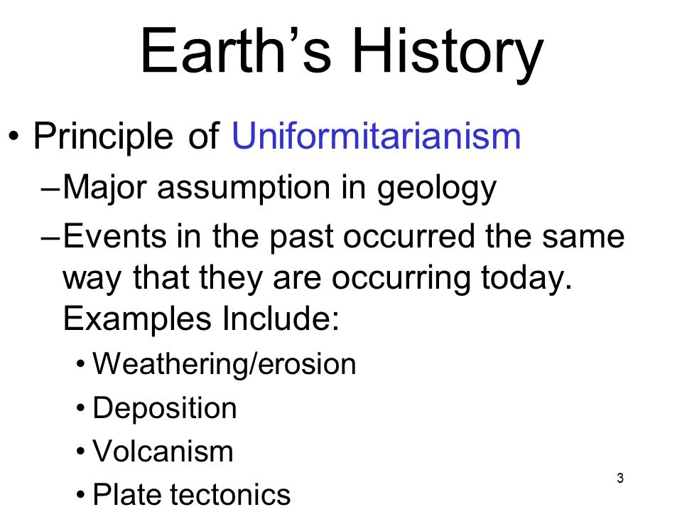 Earth's History Principle of Uniformitarianism