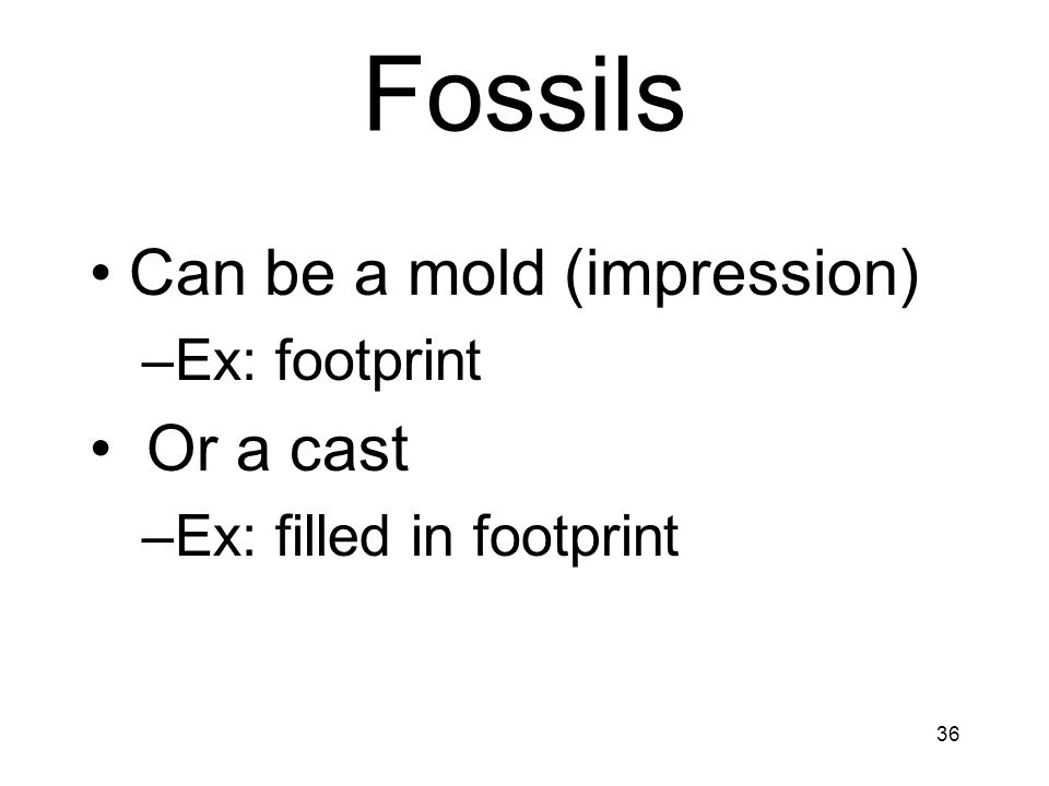 Fossils Can be a mold (impression) Or a cast Ex: footprint