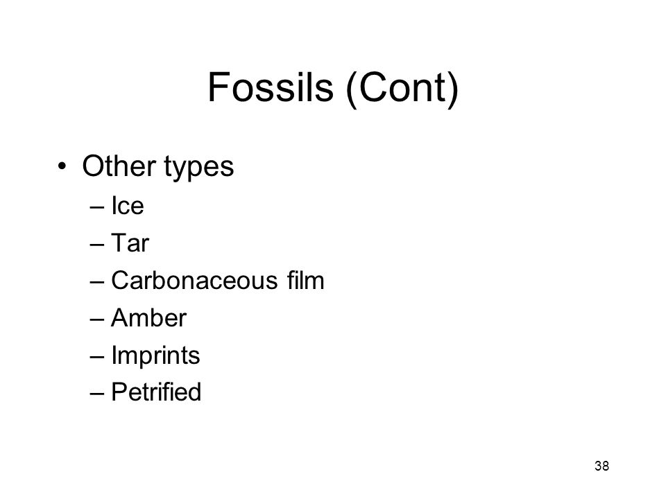 Fossils (Cont) Other types Ice Tar Carbonaceous film Amber Imprints