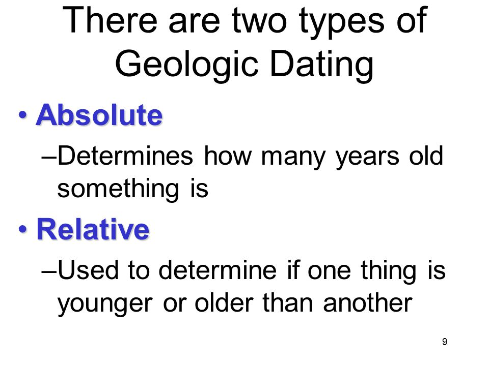 There are two types of Geologic Dating