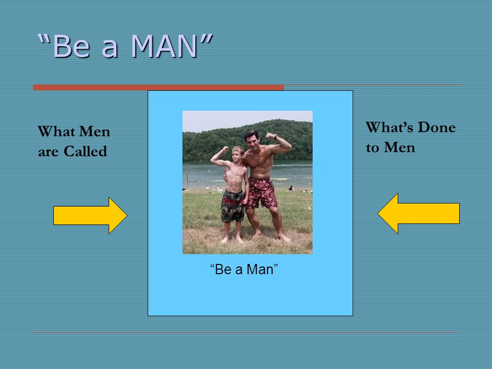 Be a MAN What's Done to Men What Men are Called Be a Man