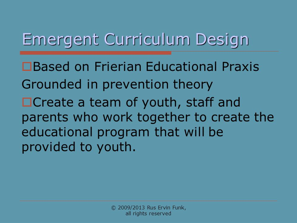 Emergent Curriculum Design