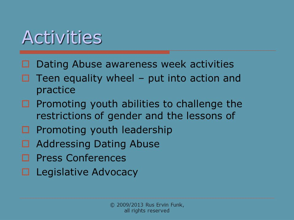 Activities Dating Abuse awareness week activities