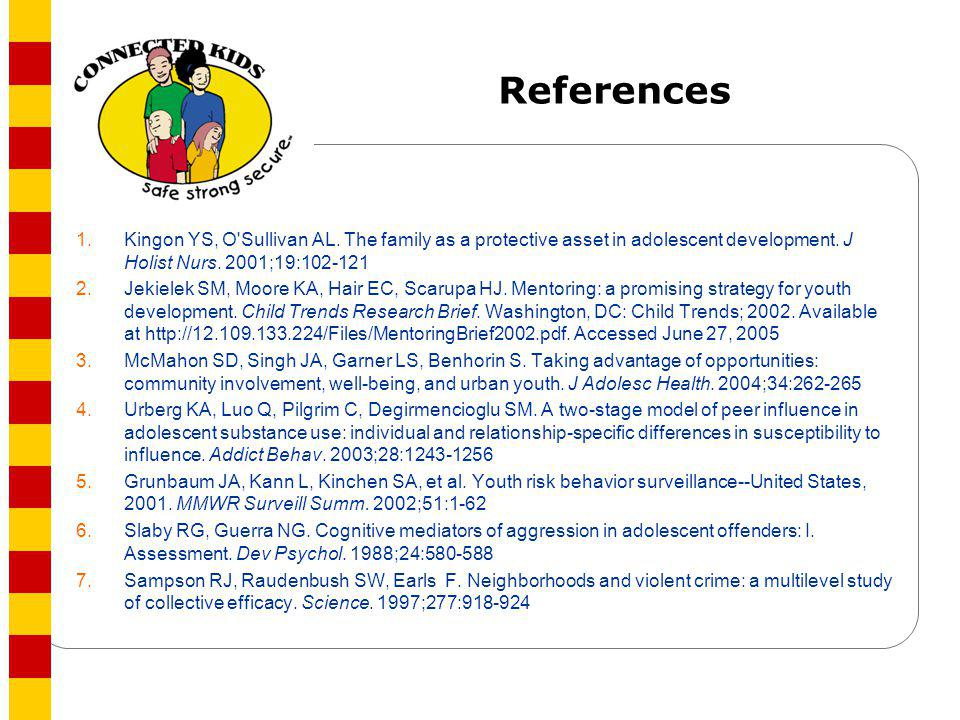 References 1. Kingon YS, O Sullivan AL. The family as a protective asset in adolescent development. J Holist Nurs. 2001;19:102-121.