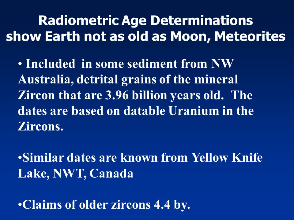 Radiometric Age Determinations