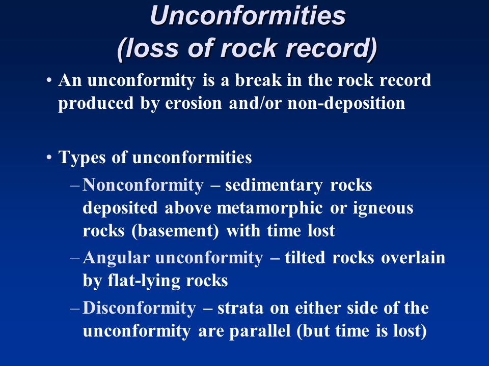 Unconformities (loss of rock record)