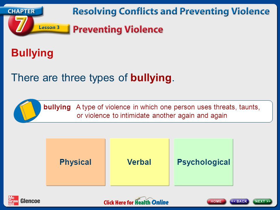 There are three types of bullying.