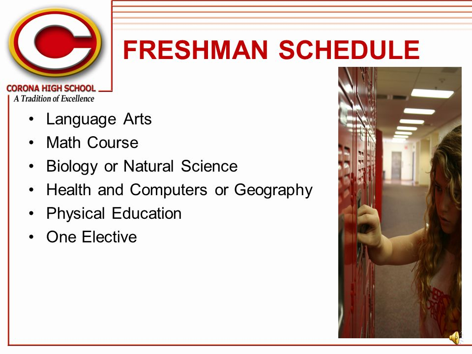FRESHMAN SCHEDULE Language Arts Math Course Biology or Natural Science