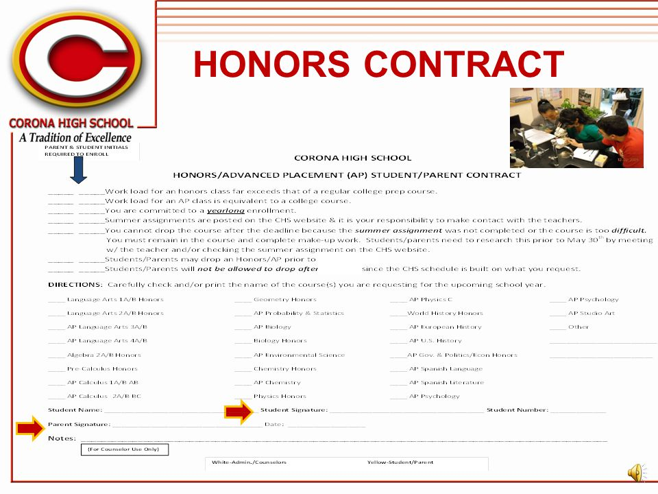 HONORS CONTRACT