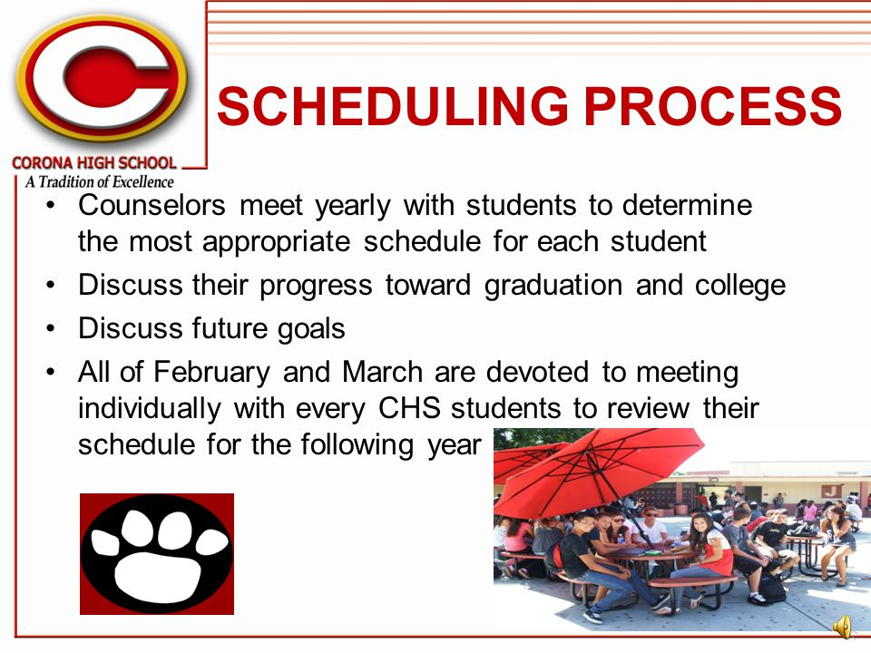 SCHEDULING PROCESS Counselors meet yearly with students to determine the most appropriate schedule for each student.