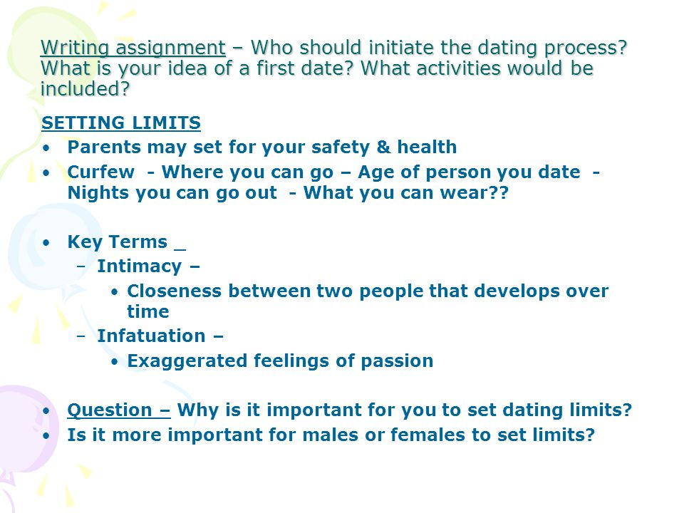 Writing assignment – Who should initiate the dating process
