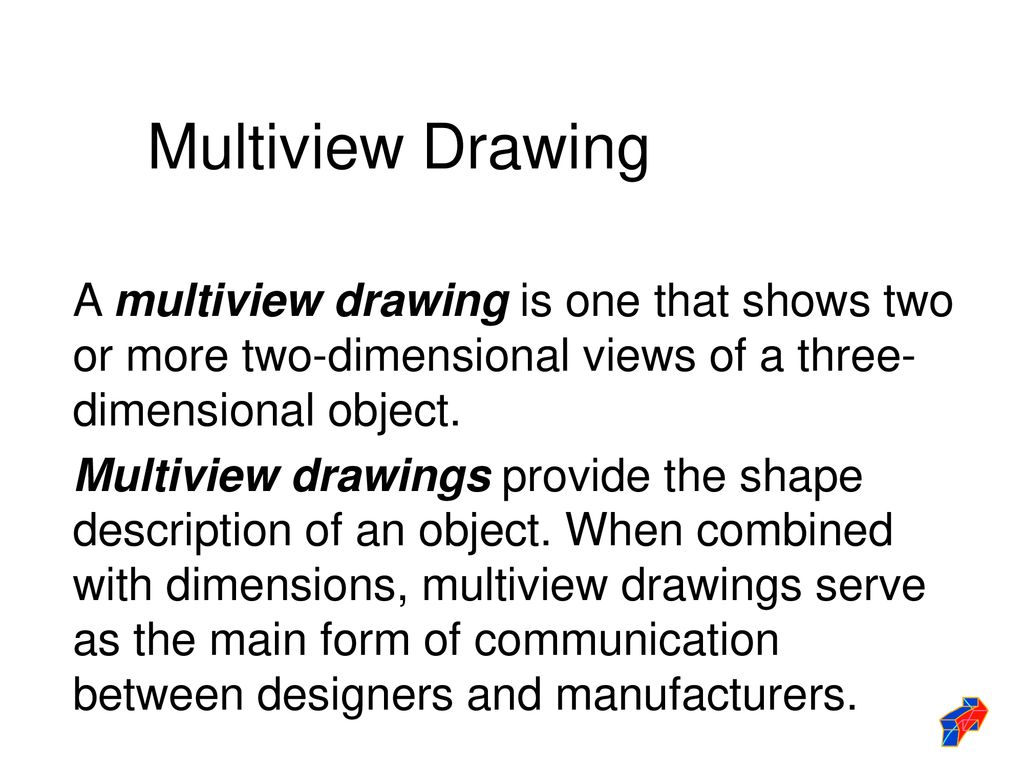 Multiview Drawing A multiview drawing is one that shows two or more two-dimensional views of a three-dimensional object.