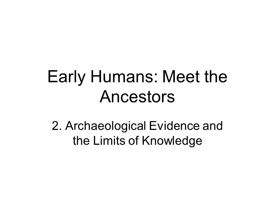 Early Humans: Meet the Ancestors
