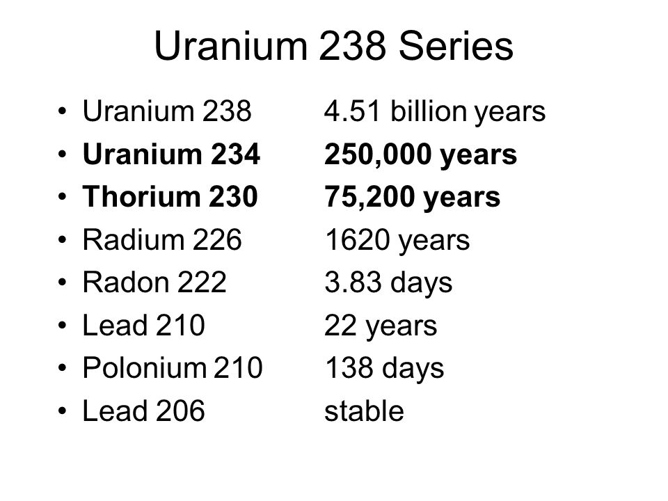 Uranium 238 Series Uranium 238 4.51 billion years