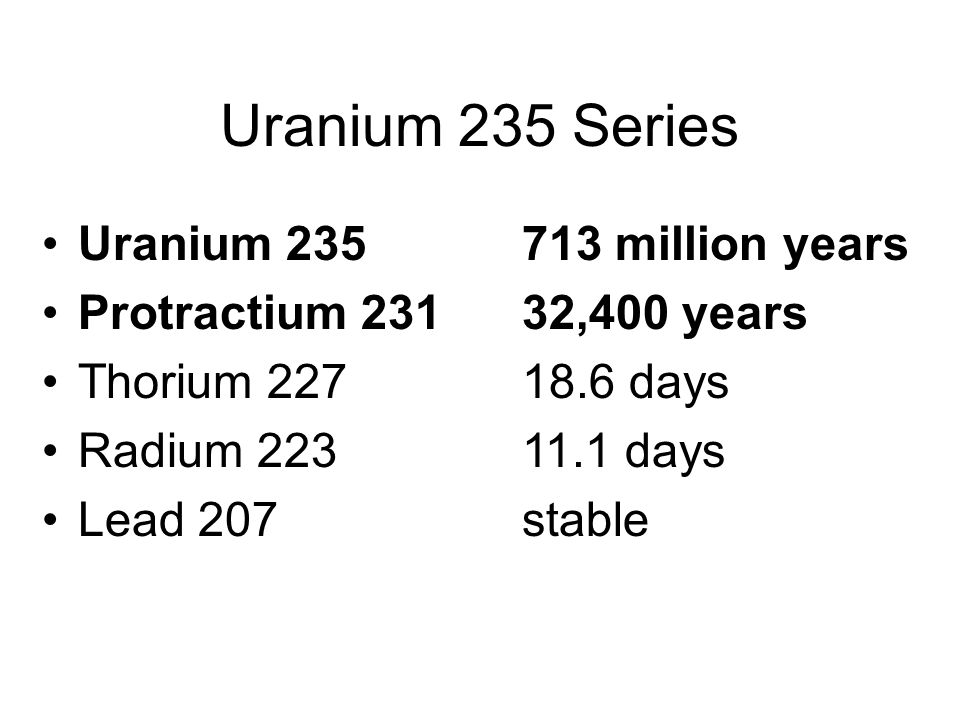 Uranium 235 Series Uranium 235 713 million years