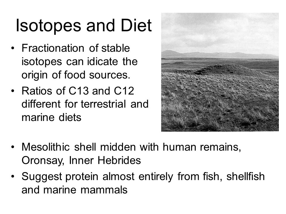 Isotopes and Diet Fractionation of stable isotopes can idicate the origin of food sources.
