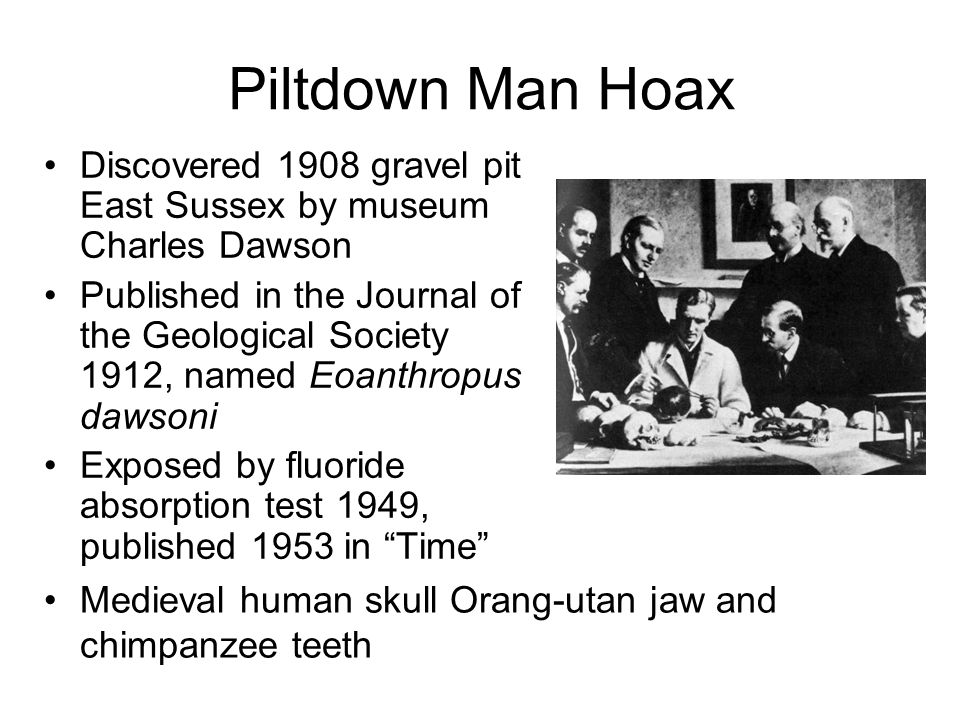 Piltdown Man Hoax Discovered 1908 gravel pit East Sussex by museum Charles Dawson.
