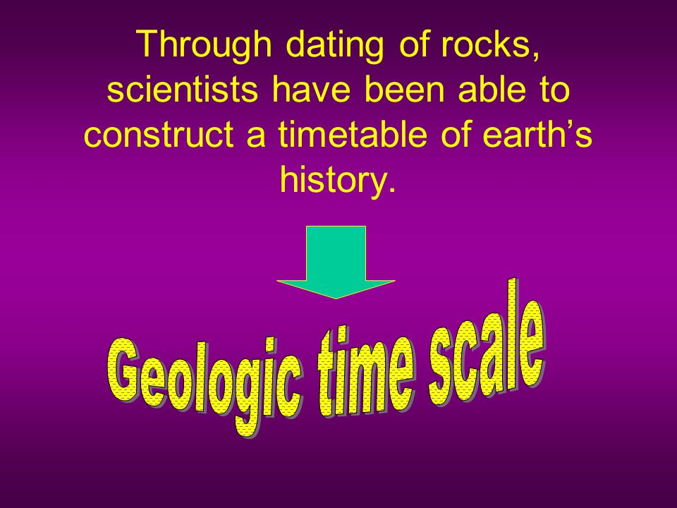 Through dating of rocks, scientists have been able to construct a timetable of earth's history.
