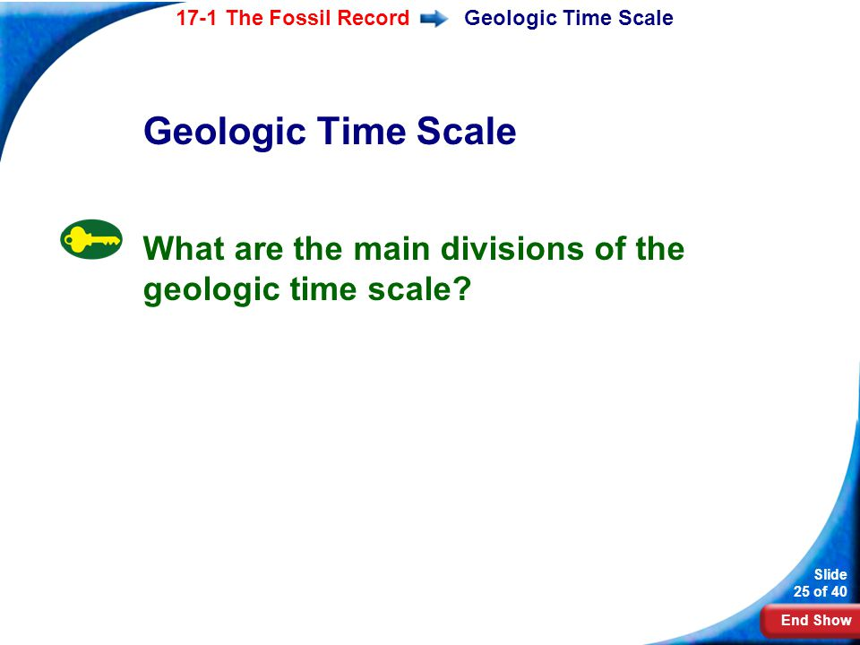 Geologic Time Scale Geologic Time Scale What are the main divisions of the geologic time scale