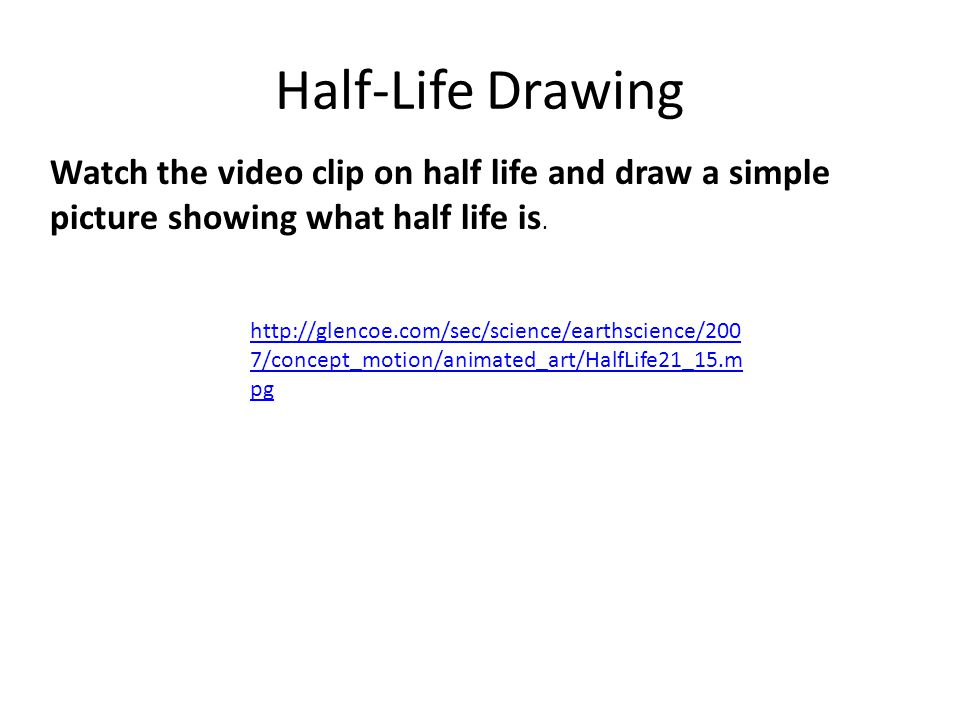 Half-Life Drawing Watch the video clip on half life and draw a simple picture showing what half life is.