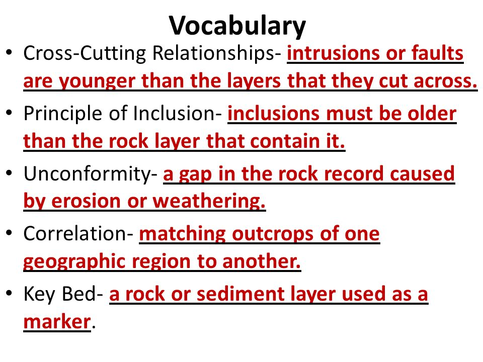 Vocabulary Cross-Cutting Relationships- intrusions or faults are younger than the layers that they cut across.