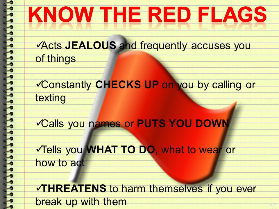 KNOW the Red Flags Acts JEALOUS and frequently accuses you of things