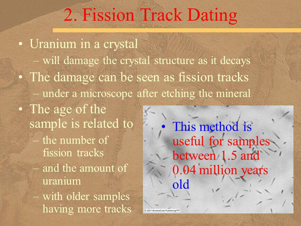 2. Fission Track Dating Uranium in a crystal