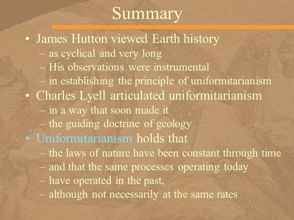 Summary James Hutton viewed Earth history