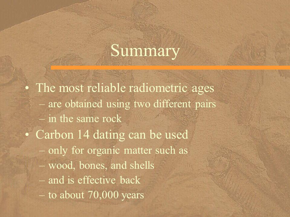 Summary The most reliable radiometric ages