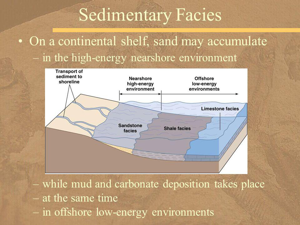 Sedimentary Facies On a continental shelf, sand may accumulate