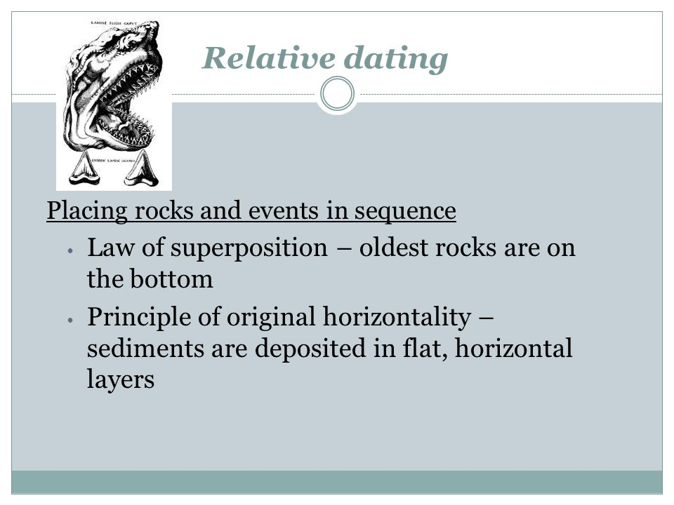 Relative dating Law of superposition – oldest rocks are on the bottom